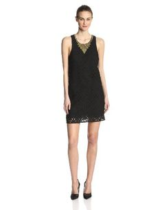 The exposed gold back zipper and gold hardware at neckline gives this little black lace dress the right amount of edge. Dress is fully lined. #Fashion  #Amazon