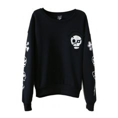 Skull Print Round Collar Long Sleeve Sweatshirt ($17) ❤ liked on Polyvore featuring tops, hoodies, sweatshirts, hoodie sweat shirt, sweat shirts, long sleeve tops, hooded pullover and black hooded sweatshirt