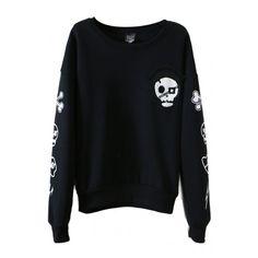 Skull Print Round Collar Long Sleeve Sweatshirt ($17) ❤ liked on Polyvore featuring tops, hoodies, sweatshirts, hoodie sweat shirt, sweat shirts, long sleeve tops, hooded pullover and black hooded sweatshirt