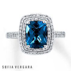 SOFIA VERGARA Ring Blue Topaz/Diamonds 10K White Gold