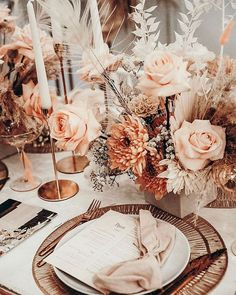 Absolutely Love These Table Settings 😩 How Beautiful Is This Colour Palette! Reception Table, Wedding Table, Fall Wedding, Rustic Wedding, Dream Wedding, Wedding Blog, Sunset Wedding, Chic Wedding, Floral Wedding