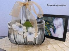 Distressed Flower Girl Basket  Personalized With by hanscreations, $24.99