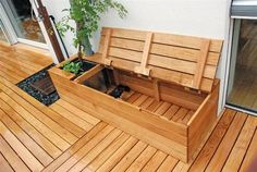 Diy Storage Crate, Patio Storage, Bench With Storage, Outdoor Storage, Storage Benches, Small Backyard Landscaping, Backyard Patio, Flagstone Patio, Concrete Patio
