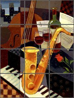 Jazz and wine Tile Mural   Pacifica Tile Art Studio