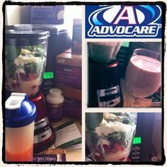 Smoothie 403 Calories ... Literally 2 meals in one. AdvoCare Vanilla Meal Replacement Shake, 2 C. spinach, 1 banana, 1 C. frozen Strawberry/blueberry/raspberry/blackberry mix, 12 oz. water. Awesome!