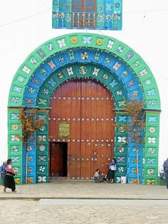 Blue & green arched doorway. Mexico
