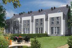 Projekt domu Miltown II LMS12a 103,18 m2 - koszt budowy 194 tys. zł - EXTRADOM Townhouse Designs, Narrow House, Terrace Design, Small House Design, Home Fashion, Garage Doors, Sweet Home, Mansions, House Styles
