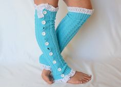 Turquoise cable knit slouchy button lace leg warmers-Boot socks-Over the knee socks-Lace socks-Boot toppers-Leg wear-Boot cuffs-XS-S-M-L-XL