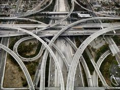 Highway Intersection 105 & 110 Los Angeles, California, USA, 2003 by Edward Burtynsky. The Photographers' Gallery; Exhibitions: The Photographers' Gallery Print Sales; East Los Angeles, Dangerous Roads, City Of Angels, Concrete Jungle, London Art, Monument Valley, Cities, Around The Worlds, Places