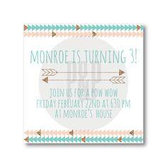 Pow Wow Birthday Party Invitation--Digital File. $10.00, via Etsy.