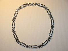 Monet Silver Tone Link Necklace N21 by delightfullyvintage on Etsy, $14.00