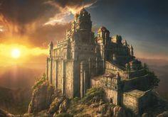 Fantasy Castle by Brayden Rieck Fantasy City, Fantasy Castle, Fantasy Places, High Fantasy, Medieval Fantasy, Sci Fi Fantasy, Fantasy World, Fantasy Concept Art, Fantasy Artwork