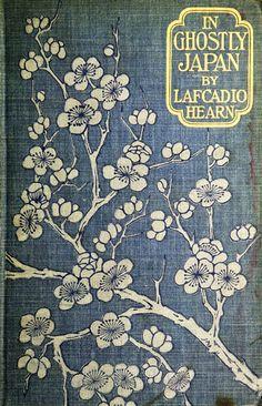 illustration : couverture de livre, 1899, branche de cerisier, fleurs, Japon, bleu - blanc