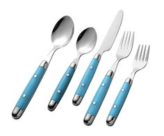 Intriom Kitchenware 20 piece Cutlery Flatware Set Stainless with Stylish Sturdy Plastic covered Light Blue handles Flatware Set, Cutlery, Kitchenware, Tableware, Stainless Steel Kitchen, Kitchen Dining, Knives, Light Blue, Plastic
