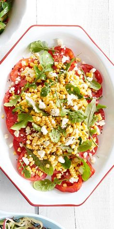 Sliced Tomatoes With Corn and Fetacountryliving