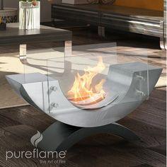 PureFlame Half Ellips Table Top Fireplace