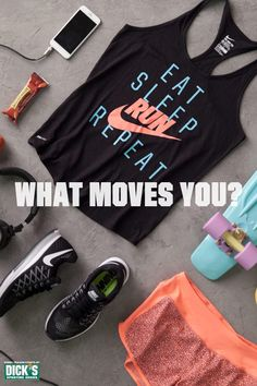 Keep up those killer workouts and look great doing it in the Nike Women& Eat Sleep Run Tank Top and Crew Printed Running Short. Every little bit helps you stay in your routine. We suggest pairing it with a pair of the Zoom Pegasus lace up and un Fitness Goals, Fitness Tips, Fitness Motivation, Workout Attire, Workout Wear, Workout Outfits, Michelle Lewin, Athletic Outfits, Athletic Wear