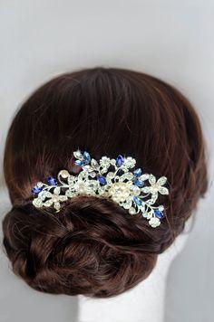 Something blue hair comb, sapphire blue swarovski crystal bridal hair comb…