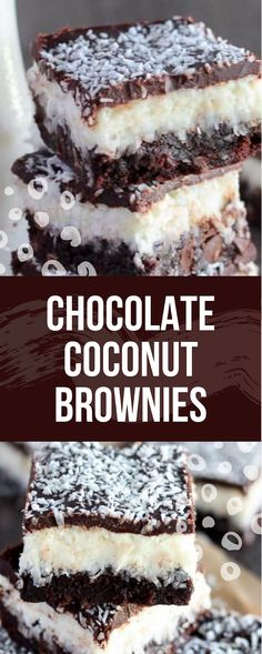 Chocolate Coconut Brownies - Daniar Eat and Recipe Brownie Recipes, Cookie Recipes, Dessert Recipes, Cheesecake Recipes, Just Desserts, Delicious Desserts, Yummy Food, Coconut Brownies, Coconut Recipes