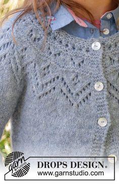 Agnes / drops children - free knitting patterns by drops design Drops Design, How To Start Knitting, Knitting For Kids, Free Knitting, Baby Knitting Patterns, Lace Patterns, Knitted Baby Cardigan, Cardigan Pattern, Knit Crochet