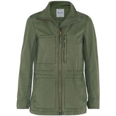 Madewell Fleet brushed-cotton jacket (220 CAD) ❤ liked on Polyvore featuring outerwear, jackets, green, parka jacket, military parka, madewell jacket, green zipper jacket and pocket jacket