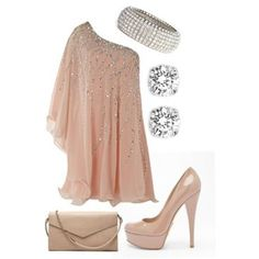 dress shoes clothes high heels pumps peach dress peach shimmering shimmer one shoulder glitter sparkle nude dress pink with bling bling ^^