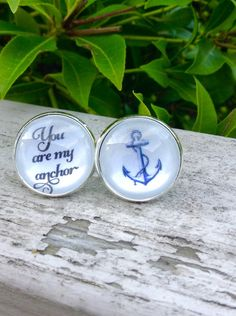 Valentines Day Gift Gifts for Him, Groom Cufflinks Wedding Cufflinks You are my anchor, nautical, Anniversary Gift