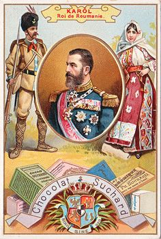 Carol I King of Romania. Educational card, late or early century. Romania People, Romanian Royal Family, History Images, Royal Caribbean Cruise, Kaiser, European History, Vintage Travel Posters, My King, North America