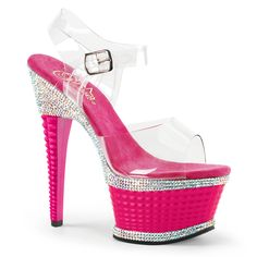 bb7bbedaf09c Pleaser ILLUSION-658RS Clear Ankle Strap Sandals With Hot Pink Platform