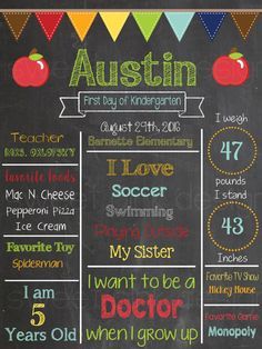 Chalkboard First Day of School Sign Apples by Sweetpinkdesigns