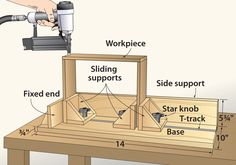 Nailing drawer boxes together used to frustrate me as I tried to steady the wobbly parts while keeping them aligned and trying to drive a nail. This clamping jig adds stability to this ungainly process. You can make the jig to whatever size best suits your needs, but the dimensions shown will accommodate very large and fairly small boxes. Build the jig from any type of scrap stock; you'll find the star knobs and T-tracks at woodworking supply stores. —Lynn Lawrenz, Algoma, Wis.