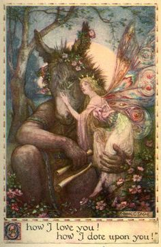 Frank Cheyne Papé ~ Titania and BottomfromA Midsummer Night's Dream ~Tales from Shakspeare (title as published) ~ 1923 ~ via