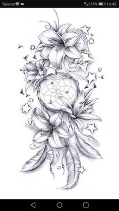 No stars and maybe diff flowers, but the direction i .-Keine Sterne und vielleicht diff Blumen, aber die Richtung ist süß Tattoo ideen – flower tattoos No stars and maybe diff flowers but the direction is cute Tattoo ideas - Feather Tattoos, Leg Tattoos, Body Art Tattoos, Tatoos, Rose Drawing Tattoo, Tattoos Skull, Maori Tattoos, Tattoo Watercolor, Tattoo Design Drawings