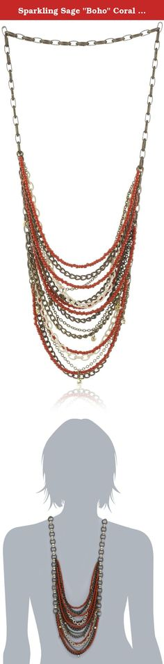 "Sparkling Sage ""Boho"" Coral Tone Beaded and Multi-Chain Necklace. The bold colors of the Sparkling Sage ""Boho"" Coral-Toned Beaded and Multi-Chain Necklace will add some trendy style to your day and punctuate your fabulous taste. This multi-chain necklace shows off coral beads along with brass-toned, pearl-toned, and gold-toned chains at varying lengths. The center of the necklace displays 5 inches of sweeping chains that cover the chest with various styles of links and 13 dangling..."