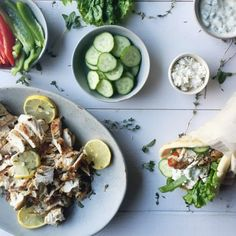 Lemon herbed Greek chicken with garlic cucumber tzatziki wraps. Delicious weeknight meal made in under 30 minutes!