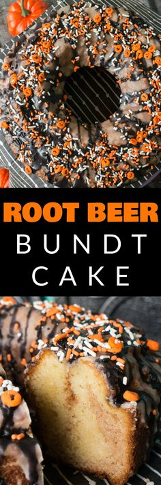EASY Root Beer Bundt Cake decorated with black and orange sugar glaze icing is a perfect Halloween dessert! This amazing cake is a party hit and is the perfect mix of pretty and spooky! It's a easy DIY recipe that kids can help bake too!
