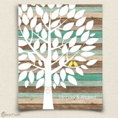 Rustic Teal Wood Wedding Tree Guest Book Alternative Wish By Peachwik Love