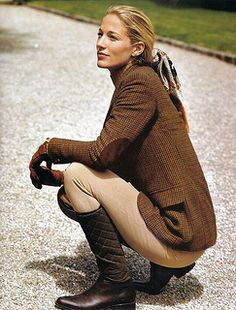Equestrian style - tweed with elbow patches, leather quilted riding boots, riding style pants