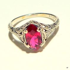 Sz 5.75 Vintage Ruby Ring Victorian Design July by Steampunkitis, $49.00