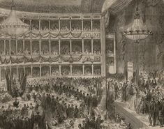 A reception held at the theatre in honour of Giuseppe Garibaldi, a city he lived in for 3 years, at the Naum theatre in Pera. Built in 1848 on the site of an earlier wooden theatre that was destroyed in fire, this building served as the chief opera house of Constantinople, until it too was destroyed by a fire in 1870.