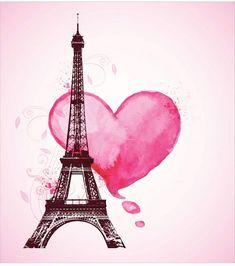 Eiffel Tower Shower Curtain Romance Love Art Print for Bathroom Eiffel Tower Drawing, Eiffel Tower Painting, Snoopy Wallpaper, Paris Wallpaper, Scrapbooking Paris, Paris Crafts, Valentine Picture, Paint And Sip, Paris Art