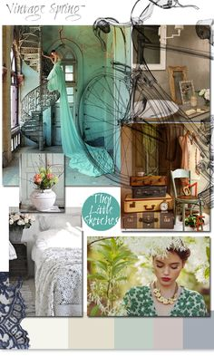 Mood Board: Vintage Spring - || LOVE this!♥✩ Love the colours, love the images chosen, love the bike illustration done on top of the images.