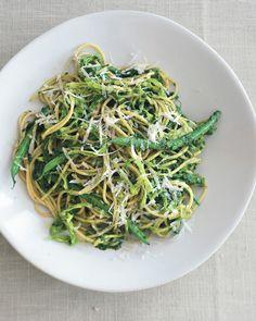 Multi-Grain Pasta with Sicilian Salsa Verde, Cabbage, and Haricots Verts