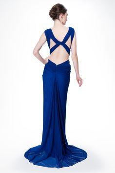 Mesh V-Neck Cross Back Gown in Marina - Evening Gowns - Evening Shop | Tadashi Shoji