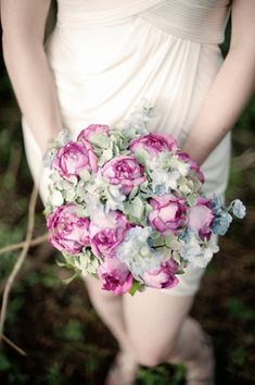 Pops of pink in a blue/green bouquet - for if the peonies are blooming on time!