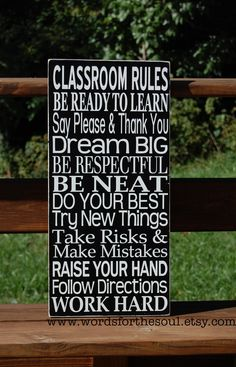 CLASSROOM Teacher Christmas Gift School Rules Typography Subway Art Wood Wooden Sign Painting