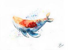 Rainbow Whale Art Print                                                                                                                                                                                 More