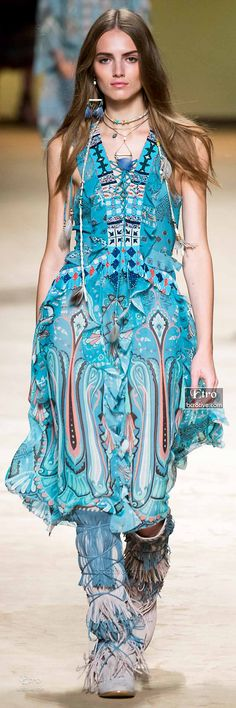 Native Inspired Aqua Dress with Beading & Moccasins