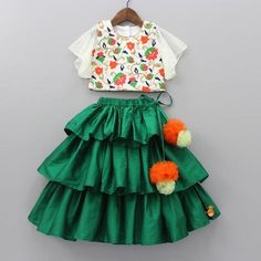 Pre Order: Multicolour Floral Embroidered Top And Green Ghagra - Kids designer dresses - Baby Girl Frocks, Frocks For Girls, Kids Outfits Girls, Little Girl Dresses, Cotton Frocks For Kids, Baby Dresses, Girls Frock Design, Baby Dress Design, Kids Lehanga Design