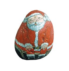 Hand painted Santa Claus rock for the holidays